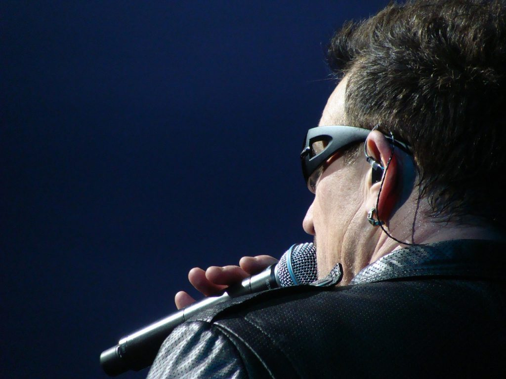 U2 vocalist, Bono, in concert