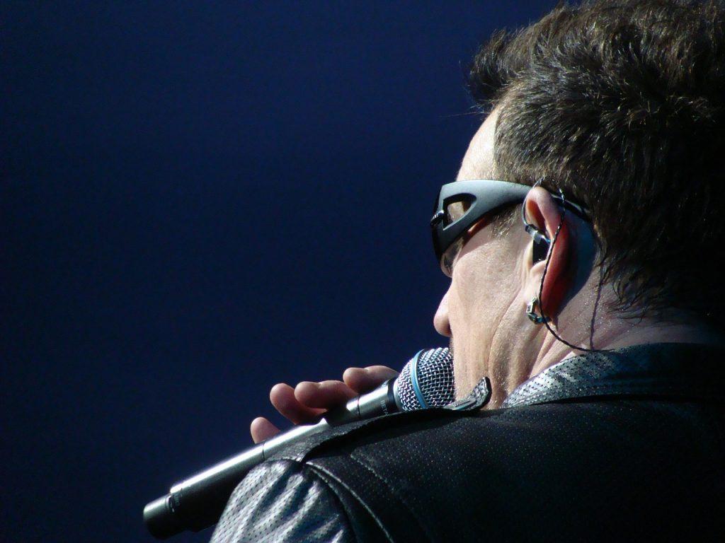 U2 vocalist, Bono, in concert